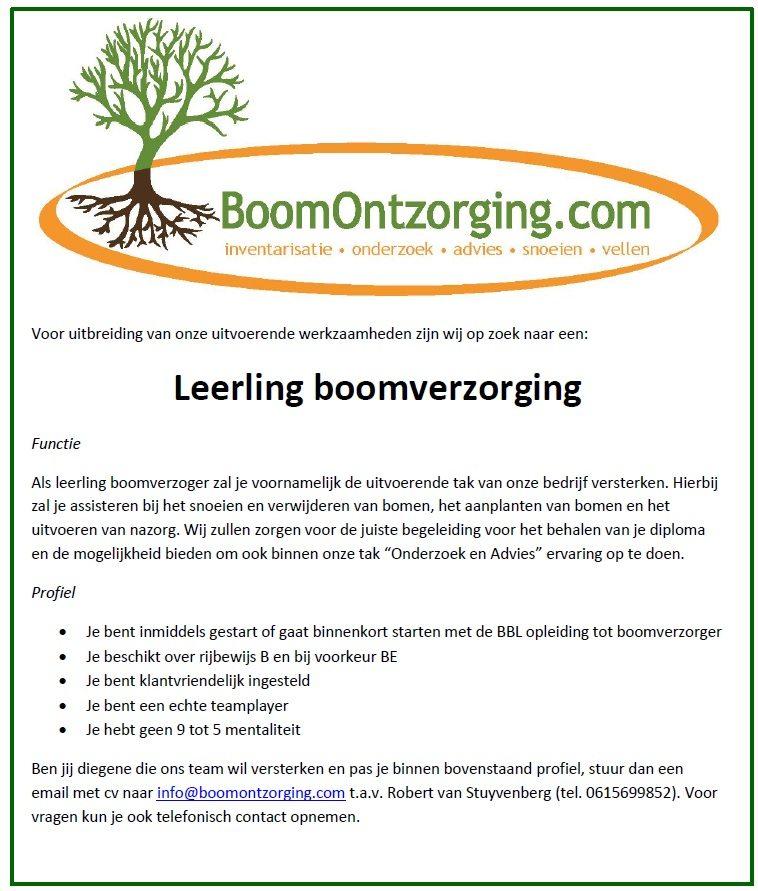 vacature leerling boomverzorging